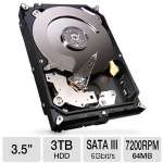 "Seagate 3TB Barracuda Internal Desktop Hard Drive - 3.5"" Form Factor, SATA III 6 Gb/s, 64 MB Cache - ST3000DM001"