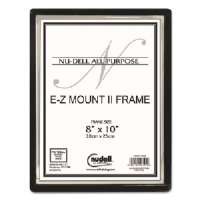 EZ Mount II Document Frame, Plastic, 8 x 10, Black/Silver