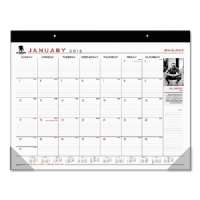 Wounded Warrior Project Monthly Desk Pad, 22 x 17, Black, 2015