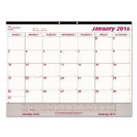 Monthly Desk Pad Calendar, 22 x 17, 2015, White/Maroon
