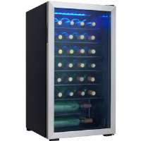 The Danby DWC93BLSDB 36-Bottle Free-Standing Wine Cooler is an attractive and effective way to keep your wine bottles cool.  Featuring room for 36 bottles, all brilliantly showcased by the blue LED in