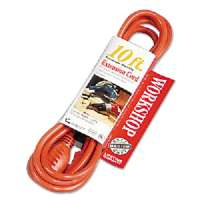 Vinyl Outdoor Extension Cord, 10ft, 13 Amp, Orange
