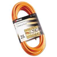 Outdoor Round Vinyl Extension Cord, 12/3 AWG, 25ft, Orange