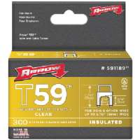 ARROW FASTENERS 591189 CLEAR T59 INSULATED STAPLES FOR RG59 QUAD and RG6, 1/4&quot; X 5/16&quot;, 300 PK