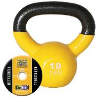 GOFIT GF-KBELL10 KETTELBELL and IRON CORE TRAINING DVD (10 LBS YELLOW)