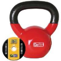 GOFIT GF-KBELL15 KETTELBELL and IRON CORE TRAINING DVD (15 LBS, RED)