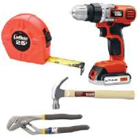 DO IT YOURSELF KIT WITH DRILL, HAMMER, PLIERS, AND TAPE MEASURE