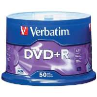 DVD+R Discs, 4.7GB, 16x, Spindle, Matte Silver, 50/Pack