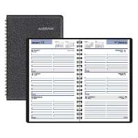 Weekly Appointment Book,Hourly,12 Months,4-7/8x8,Black