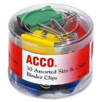 ACCO Binder Clips in Soft Tub, Assorted Sizes, Colors