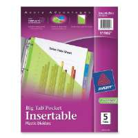 Pocket Insertable Dividers, Plastic, 5-Tab, Multi-Color