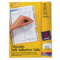 Printable Tabs, Self-adhesive, 80/PK, 1-3/4, White