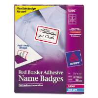 Laser/Inkjet Name Badge Labels,2-1/3x3-3/8,400/BX,Red