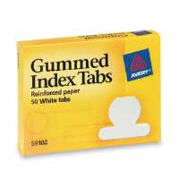 Gummed Index Tabs, Round, Ext 1/2, 50/PK, White Paper