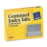 Gummed Index Tabs, 1x13/16, 1/2 Ext, 50/PK, Gray Cloth
