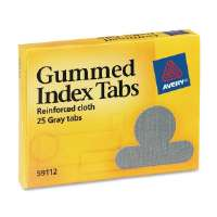Gummed Index Tabs, Round, Ext 1/2, 25/PK, Gray Cloth