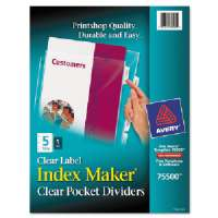 Divider/Sheet Protector,w/ Clear Pocket,Punched,5-Tab,Clear