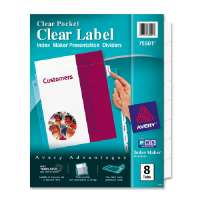 Divider/Sheet Protector,w/ Clear Pocket,Punched,8-Tab,Clear