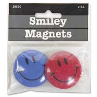 Smiley Face Magnet, 1-1/2 D, 2/PK, Assorted