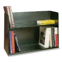 Book Rack, Two Tier, 30-1/8x10-1/2x20, Black