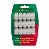 Cable Organization Clips, w/ Double Stick Tape, 15/PK, Gray
