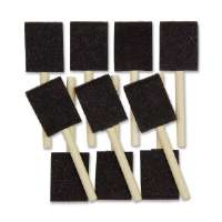 Foam Paint Brushes, 2 W, 10/ST, Wooden Handle