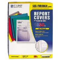 C-LINE PRODUCTS INC.  Report Cover,w/ White Binding Bars,Polypropylene,50/BX,Clear