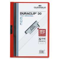 DuraClip Report Cover, 30 Sheet Capacity, 11x8-1/2, Red