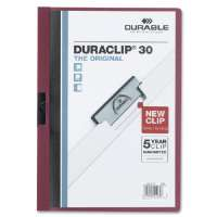 DuraClip Report Cover, 30 Sheet Capacity, 11x8-1/2, Maroon