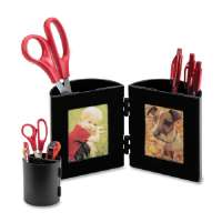 Pencil Cup,w/Photo Frames,Holds 2-1/4x3-1/2 Photo,4D,BK
