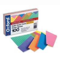 Index Cards,Ruled, 3x5, 100/PK, Assorted