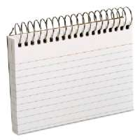 Spiral Bound Index Cards,Ruled,Perforated,3x5,50/PK,White