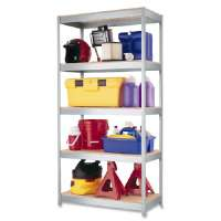 Steel Shelving Unit, 36x18x72, Silver Metal
