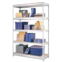 Steel Shelving Unit, 48x18x72, Silver Metal