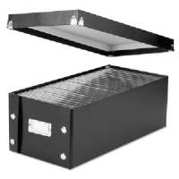 Storage Box, DVD, 26 Cap, 7-5/8x15-3/4x5-1/2, Black