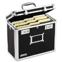 Locking File Tote Storage Box, Letter, 13-3/4 x 7-1/4 x 12-1/4, Black- VZ01187-VZ01187