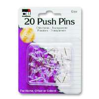 Push Pins, Plastic, 7/16, 20/PK, Clear