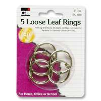 Looseleaf Ring, 1 Diameter, 5/PK, Silver