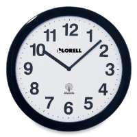 Wall Clock, 12, Arabic Numerals, White Dial/Black Frame