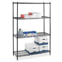 Starter Shelving Unit,4 Shelves/4 Posts,48x24x72,Black