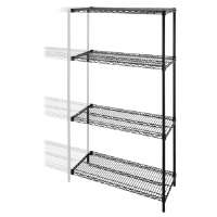 Add-On-Unit,f/Wire Shelving,4 Shelves/2 Posts,36x24x72,BK
