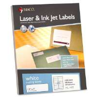 MACO TAG & LABEL Address Labels, 1-1/3x4, 1400/BX, White
