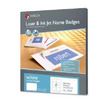 Name Badge Labels,Laser/Inkjet,2-1/3x3-3/8,50Sh/BX,White