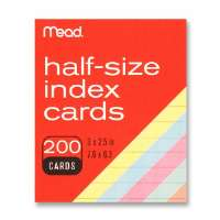 Index Cards, Half-size, 3x2-1/2, 200/PK, Assorted