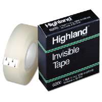 Invisible Tape, 1 Core, 3/4x1296, Clear
