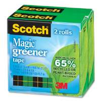 3M COMMERCIAL OFC SUP DIV Tape, Eco-Friendly, 3/4x900, 2-Pack, 2RL/PK, Clear