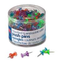 Push Pins, Steel Point, 1/4Dia x 1/2L, 200/PK, AST
