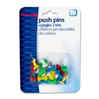 Push Pins, Plastic, Assorted Colors, Head 1/2 L