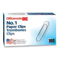OFFICEMATE INTERNATNL CORP Paper Clips, Size 1, Standard, Non-Skid, .034 Gauge, Silver