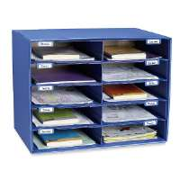 Mail Box, 10 Slots, 12-1/2x10x3, Blue